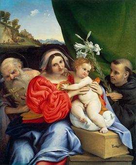 (2)ロレンツォ・ロット《聖母子と聖ヒエロニムス、トレンティーノの聖ニコラウス》